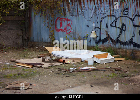 Outdoor camp of a homeless, Cologne, Germany - Stock Photo