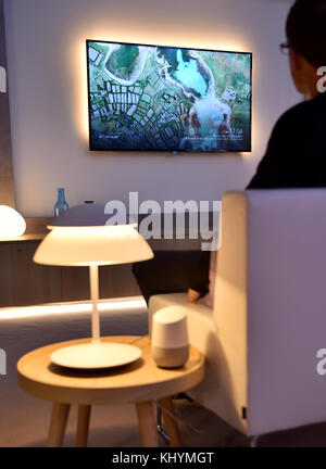 Berlin, Germany. 1st Sep, 2017. The Google Assistant speaker is placed on a table at the IFA in Berlin, Germany, - Stock Photo