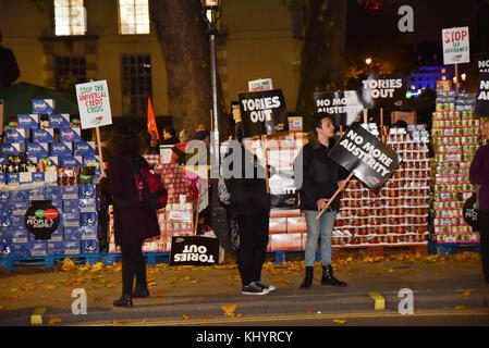 Whitehall, London, UK. 21st Nov, 2017. The People's Assembly anti austerity, budget day protest opposite Downing - Stock Photo