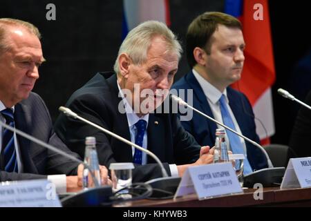 Moscow, Russian Federation. 22nd Nov, 2017. Czech President Milos Zeman (center) attends the Russian-Czech Business - Stock Photo