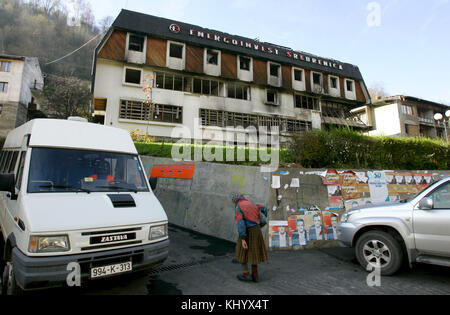 The picture shows a house destroyed in the war of Srebrenica, Bosnia and Herzegovina, 15 November 2006. Srebrenica - Stock Photo