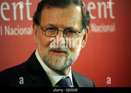 Barcelona, Spain - November 22, 2017: Spanish premier Mariano Rajoy attending the Carles Ferrer Salat Prize in Barcelona. - Stock Photo