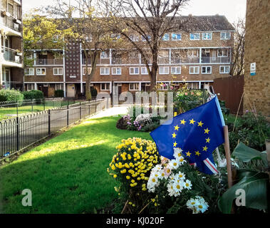 London, UK. 23rd Nov, 2017. A European flag in the grounds of a south east London housing estate. Credit: Guy Corbishley/Alamy - Stock Photo