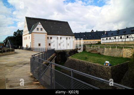Europe, Germany, Saxony, Königstein Fortress (German: Festung Königstein), the 'Saxon Bastille', is a hilltop fortress - Stock Photo