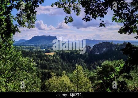 Europe, Germany, Saxony,  National Reserve Saechsische Schweiz, Elbe Sandstone Mountains, the Bastei; Saxon Switzerland - Stock Photo