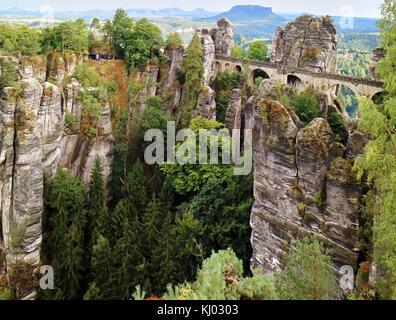 Europe, Germany, Saxony,The Bastei Bridge;  National Reserve Saechsische Schweiz, Elbe Sandstone Mountains, the - Stock Photo