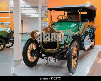 Europe, Germany, Saxony, Zwickau city, The August Horch Museum, the oldest Horch car; Horch 12/28 PS (1912) - Stock Photo