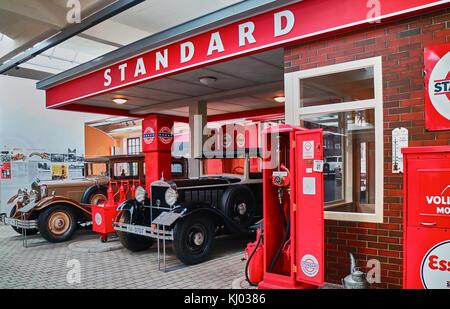 Europe, Germany, Saxony, Zwickau city, The August Horch Museum, the old gaz station - Stock Photo