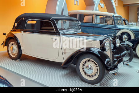 Europe, Germany, Saxony, Zwickau city, The August Horch Museum, old DKW 7 Front-Luxus 1938 - Stock Photo