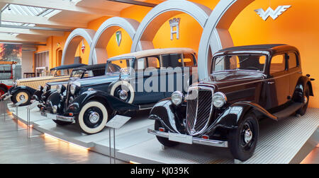 Europe, Germany, Saxony, Zwickau city, The August Horch Museum,creation of Auto Union (Audi-DKW-Horch-Wanderer) - Stock Photo
