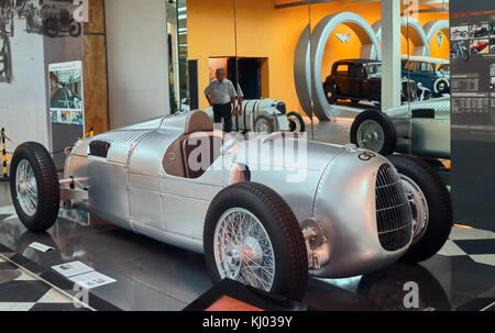 Europe, Germany, Saxony, Zwickau city, The August Horch Museum, old Bolide Auto Union Flèche d'Argent type C, 1934 - Stock Photo