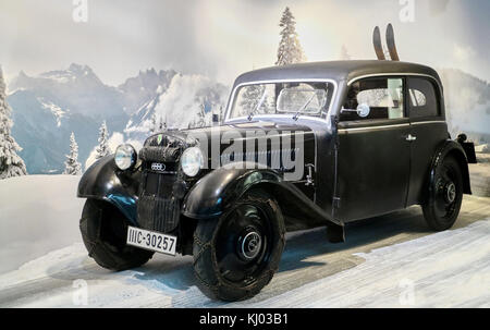 Europe, Germany, Saxony, Zwickau city, The August Horch Museum, Auto Union car,  Prepared for winter sports - Stock Photo