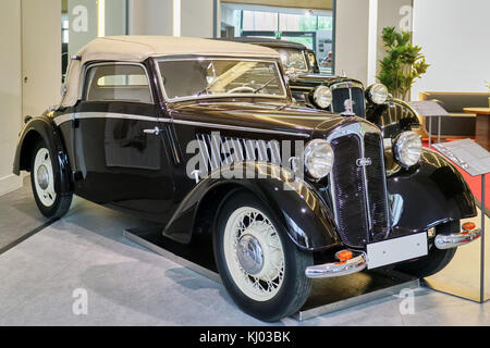 Europe, Germany, Saxony, Zwickau city, The August Horch Museum, DKW Front Drive Deluxe Convertible 1936 - Stock Photo