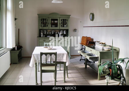 Europe, Germany, Saxony, Zwickau city,  House of August Horch; Domestic Kitchen, - Stock Photo