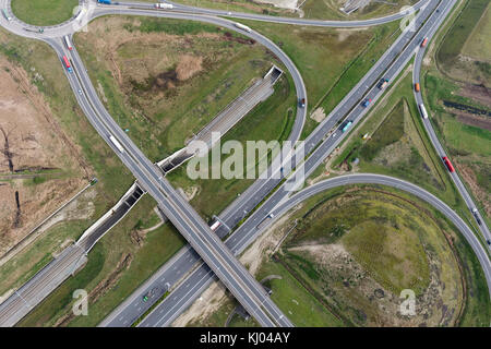 Intersection of the highway exit 10 on R2, Waaslandhaven-Zuid - Stock Photo