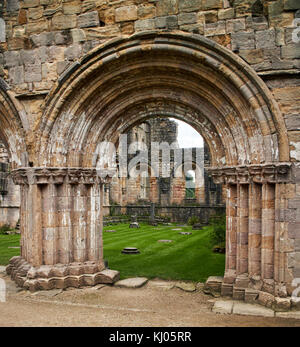England, NorthYorkshire;Romanesque arch ; North Yorkshire the ruins of the 12th century Cistercian Abbey known as - Stock Photo