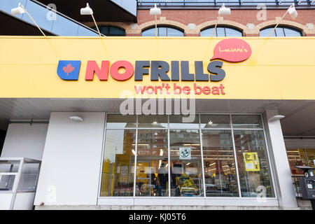 Toronto, Canada - Oct 13, 2017: No Frills grocery store in the city of Toronto. Province of Ontario, Canada - Stock Photo