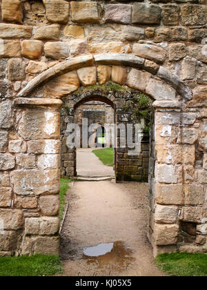 England, NorthYorkshire; Romanesque arch; Three doors; successive; North Yorkshire the ruins of the 12th century - Stock Photo
