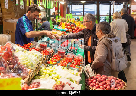 Toronto, Canada - Oct 13, 2017: Fruits and vegatebles stand at the St Lawrence Market in Toronto, Canada - Stock Photo