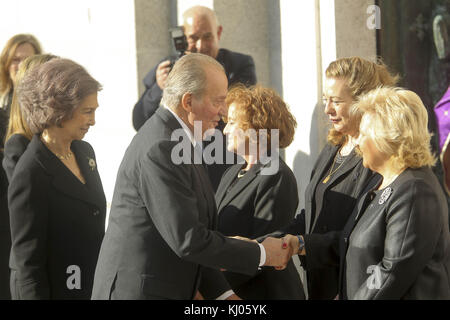 MADRID, SPAIN - MARCH 11: King Juan Carlos of Spain, Queen Sofia, Princess Letizia and Princess Elena of Spain attend - Stock Photo