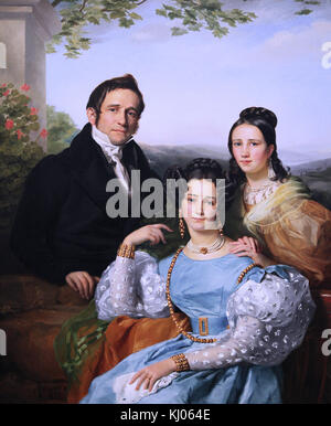 Portrait of Theodore Joseph Jonet and his two daughters 1832 by Francois Joseph Navez 1787-1869 a Belgian neo-classical - Stock Photo
