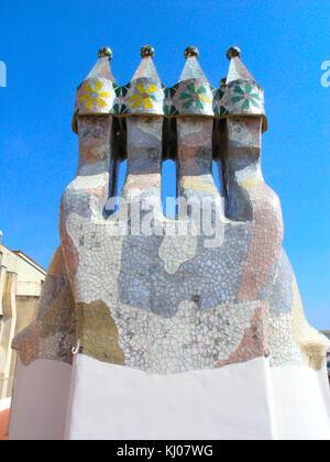 Gaudi designed chimneys in Barcelona