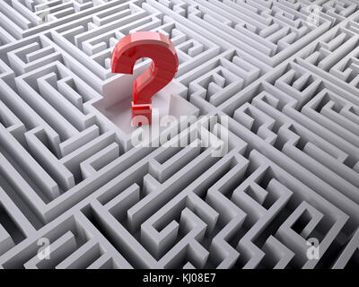 Red question mark inside the labyrinth maze, 3d illustration - Stock Photo