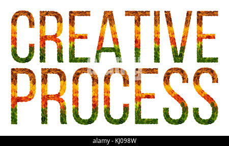 word creative process written with leaves white isolated background, banner for printing, creative illustration - Stock Photo
