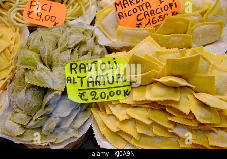 ravioli pasta on display in shop, florence, italy - Stock Photo
