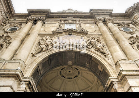 Buda castle (Royal Palace) inner courtyard, Budapest, Hungary - Stock Photo
