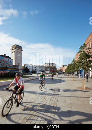 Reconfigured intersection with bicycle lane at Stockwell War Memorial. Stockwell Framework Masterplan, London, United - Stock Photo