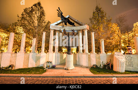 Monument to Victims of Nazis, Budapest, Hungary commemorating the victims of Nazi Germany's occupation of Hungary - Stock Photo