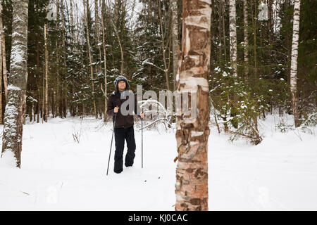 Young man cross-country skiing in the forest - Stock Photo