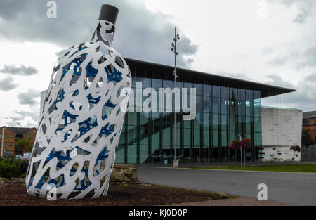Bottle of Notes statue with MIMA building in the background in Middlesbrough,England,UK - Stock Photo