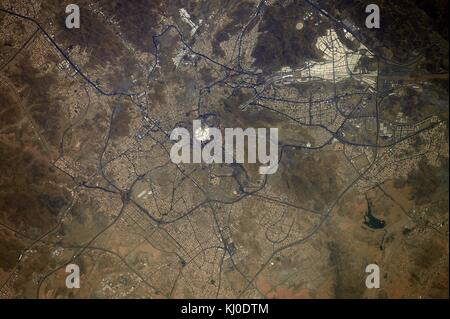 View from the International Space Station of the holy city of Mecca, where the Kaaba is clearly visible even from - Stock Photo