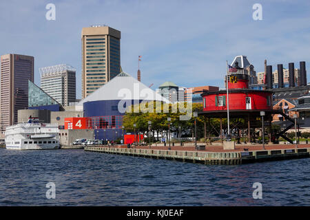 USA Baltimore Maryland MD Inner Harbor city waterfront day summer lighthouse museum - Stock Photo