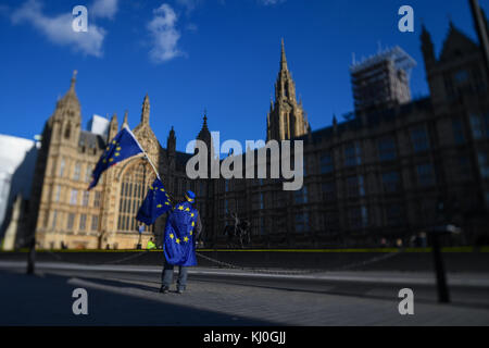 A lone Brexit protester continues his one man stand against the Brexit vote outcome outside the Houses of Parliament - Stock Photo