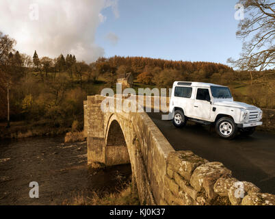 Land Rover Defender 90 in Yorkshire Dales UK - Stock Photo