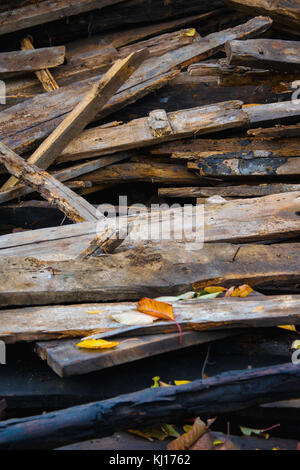 Amass of old wooden planks - Stock Photo