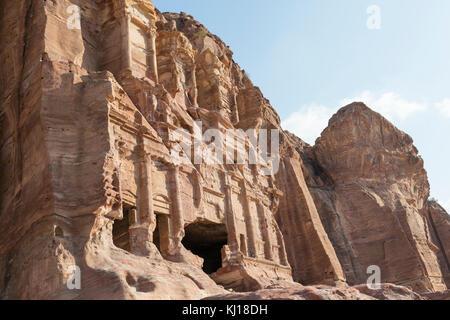 Royal Tombs in the ancient city of Petra, Jordan - Stock Photo