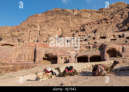Petra, Jordan, December 25th 2015: Stone Arch in the valley of Petra, JordanUrn Tomb, Silk Tomb and Royal tombs - Stock Photo