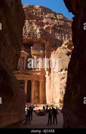 Petra, Jordan, December 25th 2015: Al Khazneh - the treasury, ancient city of Petra, Jordan - Stock Photo