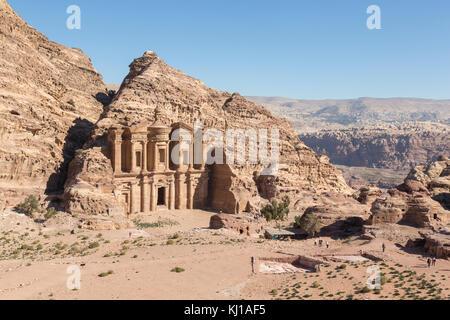 The Monastery Al Deir in Petra, Jordan - Stock Photo