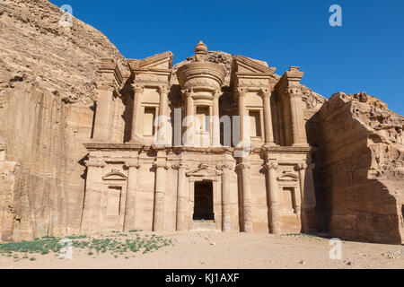 The Monastery Al Deir in Petra, Jordan - Stock Photo