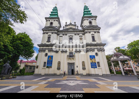 Cathedral of Immaculate Conception of Blessed Virgin Mary, formerly Dominican Church in Ternopil, administrative - Stock Photo