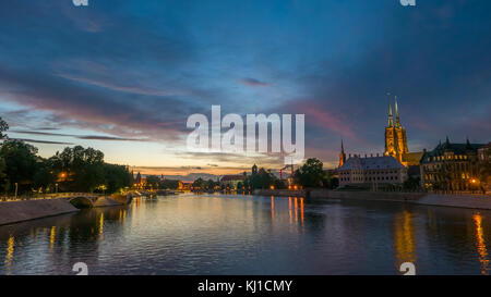 Breathtaking vibrant sunset over Wroclaw, Poland - Stock Photo