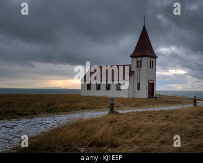 Corrugated iron church in the tiny village of Hellnar, close to Arnarstapi on the westernmost part of the Snæfellsnes - Stock Photo