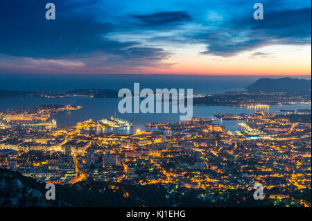 Europe, France, Var, Toulon. View from the Mont Faron, Toulon harbor by night. - Stock Photo