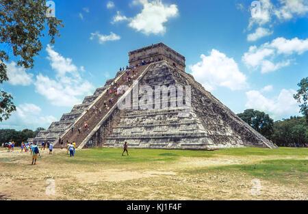 Temple of Kukulkan, pyramid in Chichen Itza, Yucatan, Mexico - Stock Photo