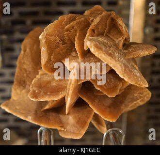 Desert rose is the colloquial name given to rose-like formations of crystal clusters of gypsum or baryte which include - Stock Photo